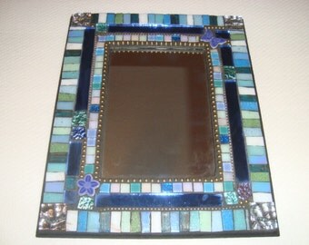 MOSAIC MIRROR, Accent Mirror, Shades of Blue and Green, Butterfly, Flower