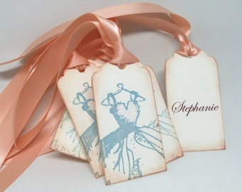 Bridesmaid Favor Tags, Bridal Party Gift Tags, Bridal Shower Place Cards, Personalized (5)
