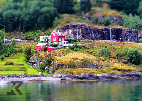 Little Red House by the Fjords (Photography Print)