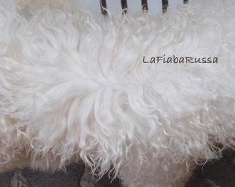 doll hair in angora mohair goat Cream white Lamb Fur pelt , Tibetan/ mongolian fur, but more silky, lustry for any wig OOAK dolls, reroot