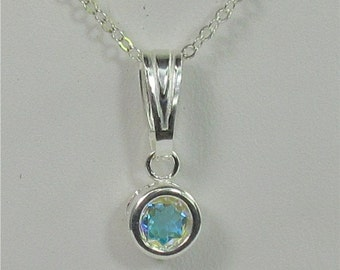 Opalescent Topaz 6mm 1ct Gemstone Sterling Silver Necklace