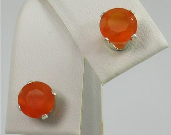 Carnelian Faceted 6mm 1.70ctw Sterling Silver Gemstone Stud Earrings