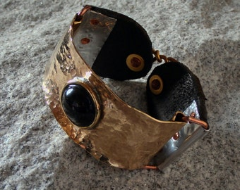 brass and leather bracelet