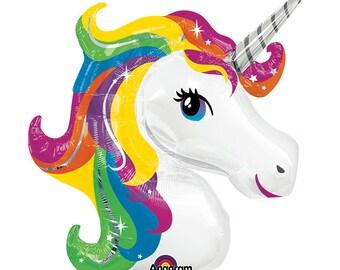"Unicorn Balloon, 33""Large Unicorn Balloon, Birthday Party Decor, Fantasy Party Balloon, Table Setting, Cute Balloons, Rainbow Birthday Party"
