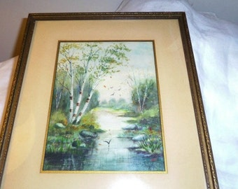 Watercolor Woodland Scene signed PEFF 13.5 x 11 Pre 1949 Original Painting