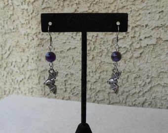 Amethyst Bat Earrings