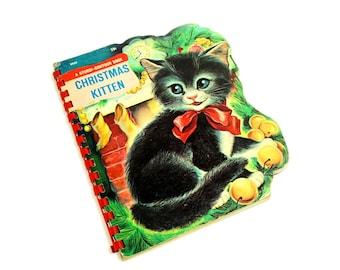 Vintage 1960s Childrens Book / Christmas Kitten 1966 Hc / Sturdi-Contour Board Book