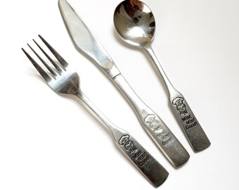 Vintage 1980s Childs Campbell Kid Stainless Flatware Set / Set of Spoon, Knife and Fork / M'm M'm Good