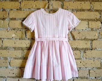 Vintage 1960s Girls Size 4 Dress / 60s Childs Day Dress / Striped Pink Cotton, Gathered Skirt, Detached Belt, Mommy Made