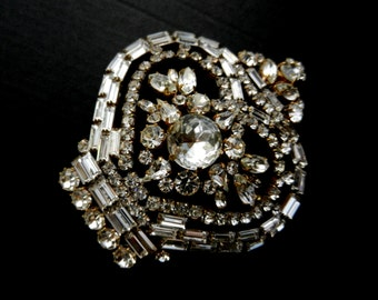 Gorgeous  large clear rhinestones Czechs brooch  -Dazzling Heart Bhoemian crystals Double use brooch but also pendant -art.502/4-