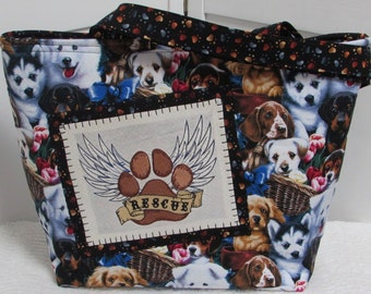 Brown and Tan Puppy Dog Large Tote Bag Rescue Dog Shoulder Bag Dog Lovers Purse Ready To Ship