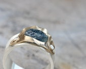 Unique Rough Montana Sapphire Ring 14k Yellow Gold Silver Riveted Setting Wavy Nautical Modern Statement Ring - Sapphire Swell
