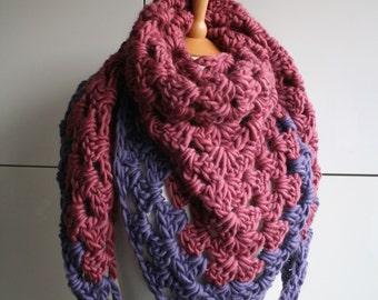 Fall Merino super chunky triangle scarf, fall wrap READY TO SHIP