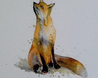 original colorful print RED FOX original watercolor original painting modern animal painting fox FOX