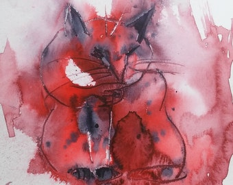 ORIGINAL Cat painting Abstract CAT painting watercolor painting WATERCOLOR Painting Abstract Cats