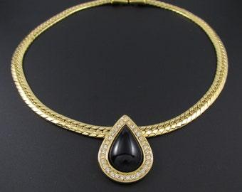 Monet Rhinestone Necklace, Statement Necklace, Rhinestone Collar Necklace, Gold Chain Necklace, Rhinestone Pendant, Black Teardrop Necklace