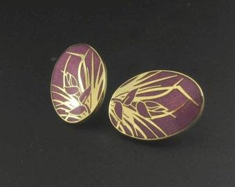 Skye Floral Enameled Earrings, Enameled Purple Earrings, Skye Earrings, Gold Earrings, Gold Flower Earrings
