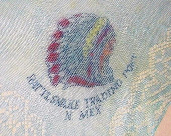 Rare vintage RATTLSNAKE TRADING POST, N. Mex. Handkerchief • Indian Chief Profile