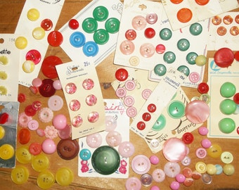 Vintage Colorful Plastic Buttons • large mixed lot
