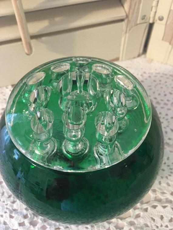 Green Glass Flower Frog Vintage Footed Bowl Flower Vase