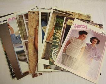 Bundle of womens knitting patterns for jumpers and tops, 1980's