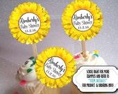 12 Cupcake Picks, Topper Decorations, Baby Shower, Bridal Shower, Birthday, Wedding, Sunflower Design, Yellow Color Scheme