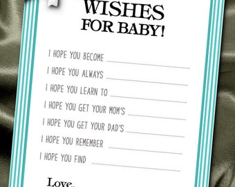 10  Wishes for Baby Cards, Baby Shower Party Games, Activity Game Cards, Aqua Color Scheme, White Bow, Turquoise