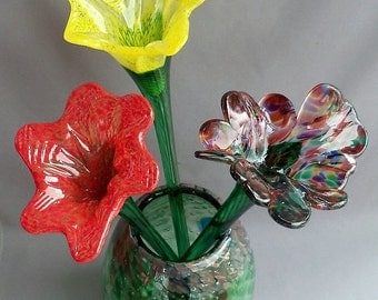Hand Blown Art Glass  Round Vase, Forest Green and Chalcedony Color on Top with 3 Glass Flowers
