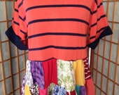 Harry and The Hippe Chic Upcycled Bohemian Striped Patchwork Tunic Top