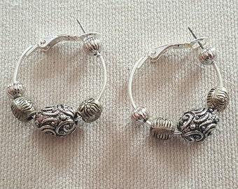 Silver Bead Hoop Earrings FREE SHIPPING