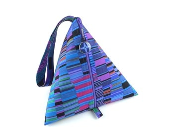 Knitting Bag Project Bag Pyramid Bag - Kaffe Fassett Collective Shirt Stripes and Big Leaf Blue