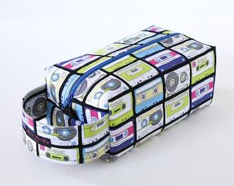 Zippered Knitting Crochet Project Box Bag - Mixed Tape - Blue Zip