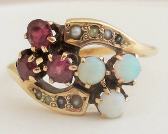 Antique Victorian Opal Ring, 10K Solid Yellow Gold Ring With Opals, Rubies and Seed Pearls, Ladies Size 6.75 1900s