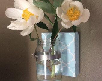 Mason Jar Wall Vase -  quatrefoil design-you choose color-gift- home decor (Item Number BL75)