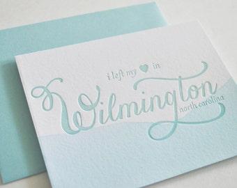 Wilmington, North Carolina Dip-Dyed Letterpress Cards