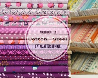Cotton + Steel Stash Fat EIGHTH Bundle in PLUM (15 prints)