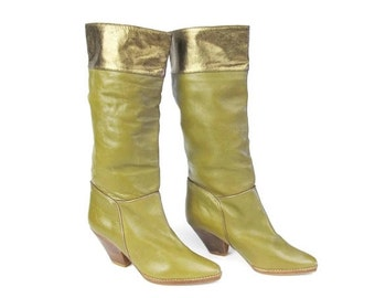 25% off SALE Vintage 1980s Knee High Boots Womens Brown Leather Tall Boots Metallic Bronze Pull On Pointed Toe Boots Chunky Low Heel Boots S