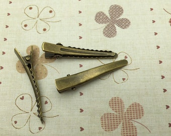 Hair Clips -50 pieces of Bronze Plated Alligator Hair Clip with Teeth - 43mm