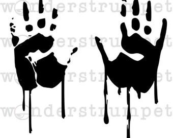 Halloween Stencil Series - Dripping Handprints
