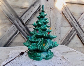 Vintage Ceramic Christmas Tree Music Box Ceramic Mold Light Up Large Multicolored Lighted Tree AS IS