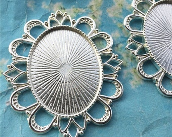 New COME  large 5pcs bright silver oval bezel base metal setting pendant blank---30x40mm for the inner cavity