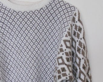 geometric in neutrals...1980s vintage jumper or sweater