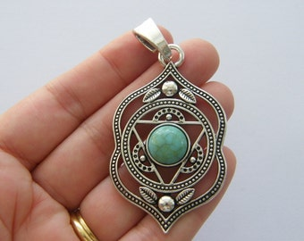 1 Chakra flower pendant antique silver tone I95