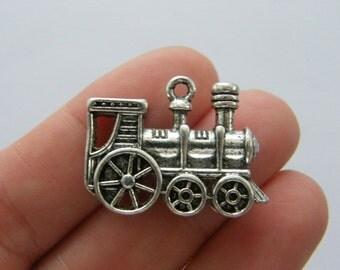 2 Train charms antique silver TT84