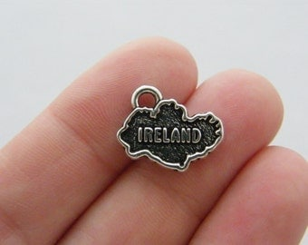4 Ireland charms antique silver tone WT180