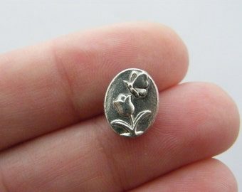10 Flower and butterfly spacer beads antique silver tone BOX6