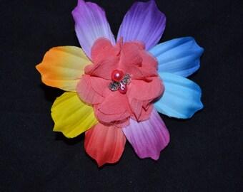 Flower corsage,  brooch, pin, corsage, rainbow corsage pin, purple corsage, yellow corsage,blue corsage, fabric jewelry brooch