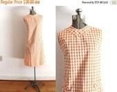 ON SALE 1960s Dress / 60s Shift Dress / 1960s Orange Gingham Dress