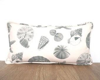 Maritime throw pillow cover 21x11 for beach cottage decor, natural lumbar pillow nautical decoration, shell pillow gift for beach lovers