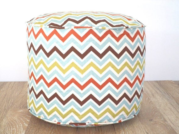 "Chevron pouf ottoman in multi colored stripes, 18""round ottoman in zigzag print, foot rest for desk chair, round floor cushion fall decor"